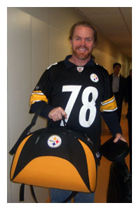 Rob Lauver in his Steelers jersey