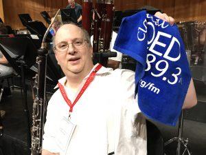 Principal English Horn Harold Smoliar with his Terrific Towel onstage at Salzburg