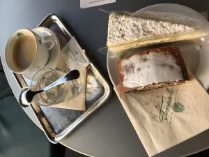 Mohnstrudel with poppyseeds and a cheese and fruit tart at Cafe Tomaselli