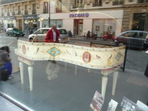 Pleyel pianos for sale across from the Salle Pleyel, Paris