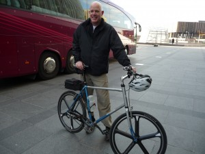 Percussionist Andy Reamer and his folding bike