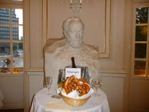 Brahms guards the pretzels and Champagne