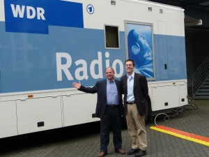 Jim Cunningham and Andrew Druckenbrod with WDR's broadcast truck at the Beethovenhalle