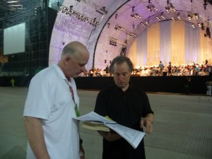 Percussionist Andrew Reamer (left) with Manfred Honeck